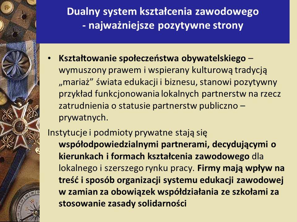 Kształtowanie społeczeństwa obywatelskiego – wymuszony prawem i wspierany kulturową tradycją mariaż świata edukacji i biznesu, stanowi pozytywny przyk