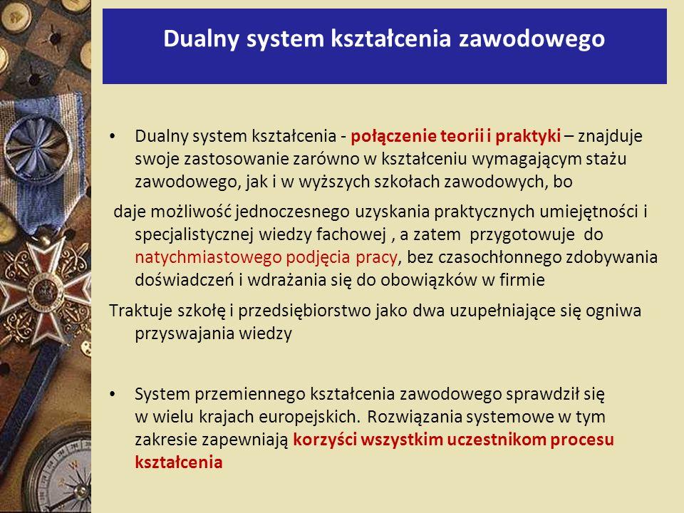 Dualny system kształcenia zawodowego Dualny system kształcenia - połączenie teorii i praktyki – znajduje swoje zastosowanie zarówno w kształceniu wyma