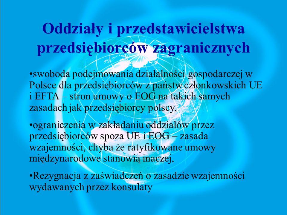 Oddziały i przedstawicielstwa przedsiębiorców zagranicznych swoboda podejmowania działalności gospodarczej w Polsce dla przedsiębiorców z państw człon
