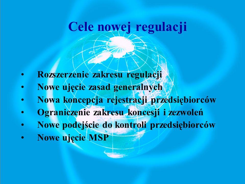 Rozszerzenie zakresu regulacji Nowe ujęcie zasad generalnych Nowa koncepcja rejestracji przedsiębiorców Ograniczenie zakresu koncesji i zezwoleń Nowe