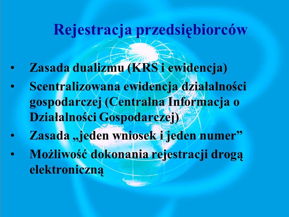 Zasada dualizmu (KRS i ewidencja) Scentralizowana ewidencja działalności gospodarczej (Centralna Informacja o Działalności Gospodarczej) Zasada jeden