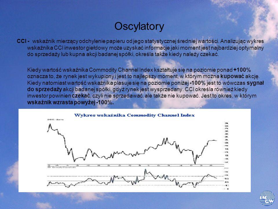 Oscylatory CCI - wskaźnik mierzący odchylenie papieru od jego statystycznej średniej wartości. Analizując wykres wskaźnika CCI inwestor giełdowy może