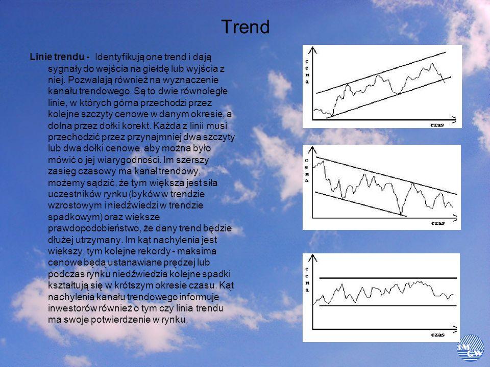 Trend Linie trendu - Identyfikują one trend i dają sygnały do wejścia na giełdę lub wyjścia z niej. Pozwalają również na wyznaczenie kanału trendowego