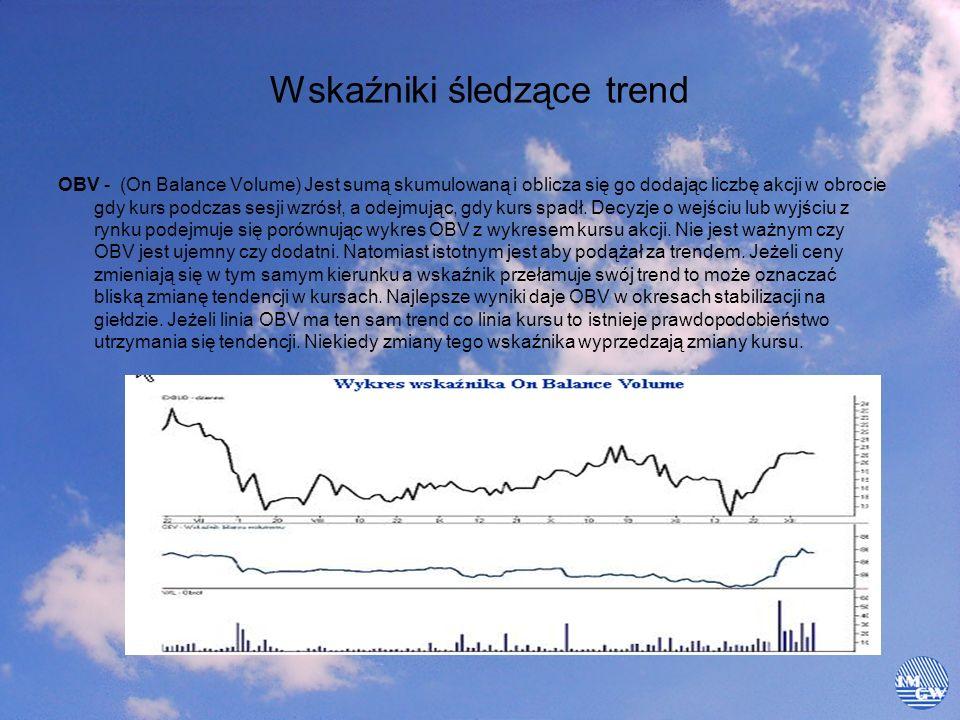 Wskaźniki śledzące trend OBV - (On Balance Volume) Jest sumą skumulowaną i oblicza się go dodając liczbę akcji w obrocie gdy kurs podczas sesji wzrósł