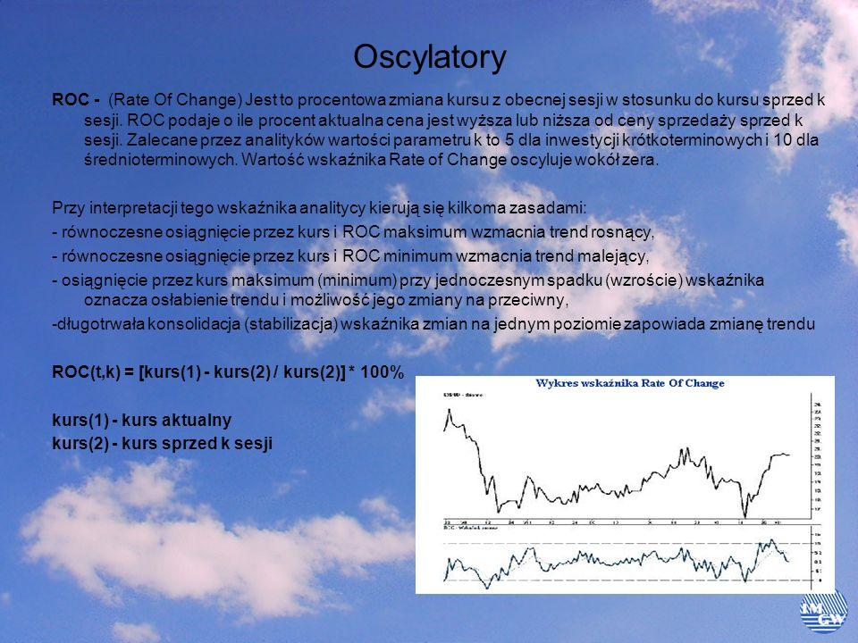 Oscylatory ROC - (Rate Of Change) Jest to procentowa zmiana kursu z obecnej sesji w stosunku do kursu sprzed k sesji. ROC podaje o ile procent aktualn