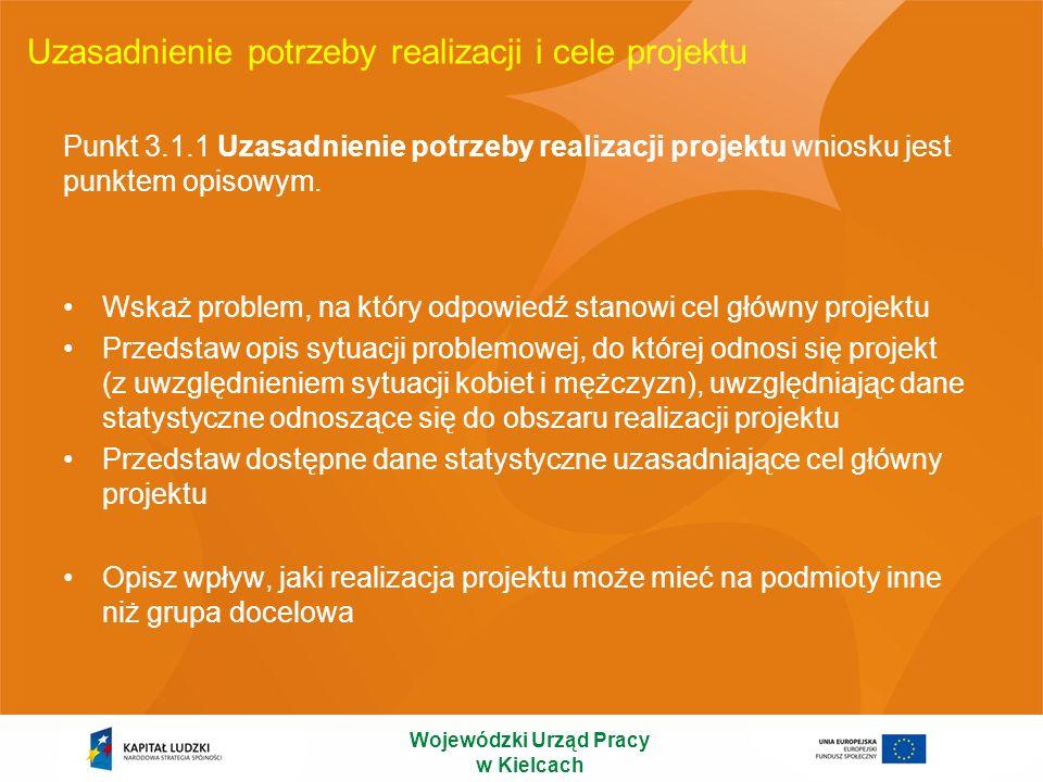 Uzasadnienie potrzeby realizacji i cele projektu Punkt 3.1.1 Uzasadnienie potrzeby realizacji projektu wniosku jest punktem opisowym. Wskaż problem, n