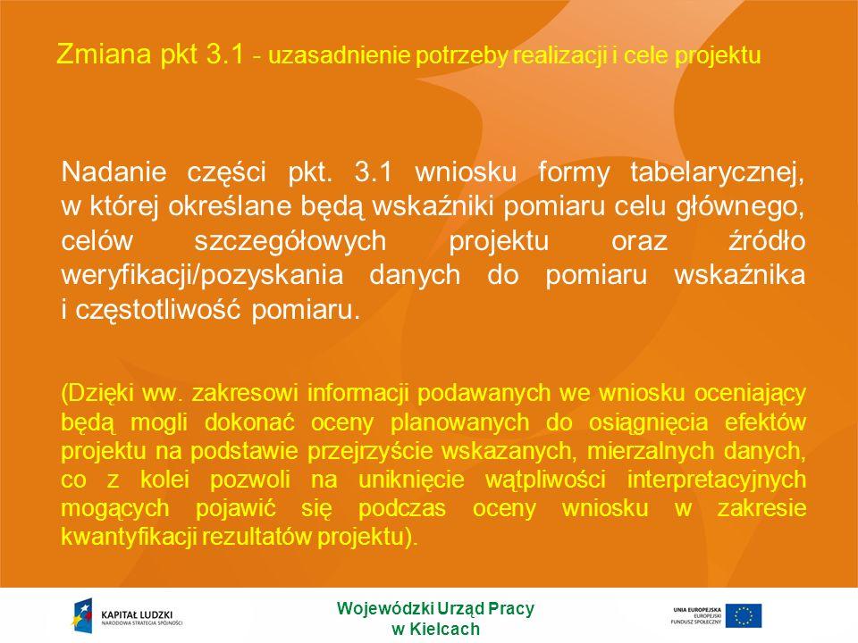 Zmiana pkt 3.1 - uzasadnienie potrzeby realizacji i cele projektu Nadanie części pkt. 3.1 wniosku formy tabelarycznej, w której określane będą wskaźni