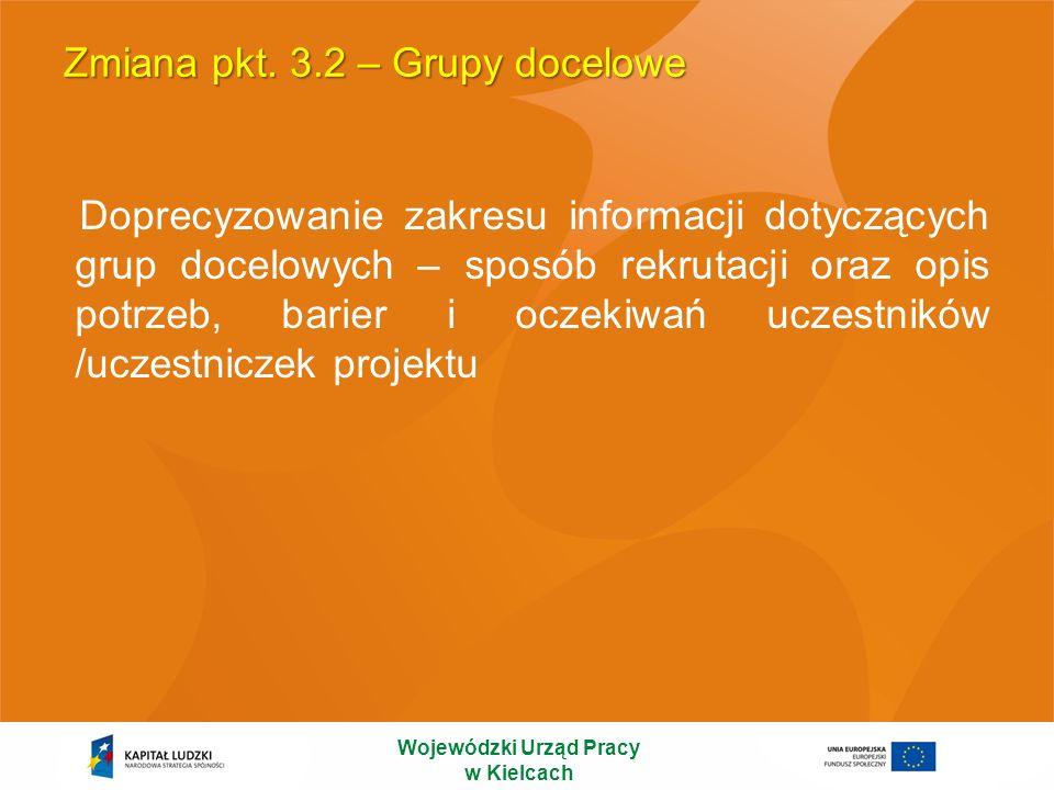 Zmiana pkt. 3.2 – Grupy docelowe Doprecyzowanie zakresu informacji dotyczących grup docelowych – sposób rekrutacji oraz opis potrzeb, barier i oczekiw