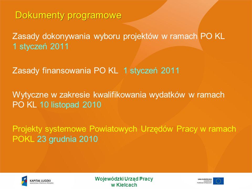 Dokumenty programowe Zasady dokonywania wyboru projektów w ramach PO KL 1 styczeń 2011 Zasady finansowania PO KL 1 styczeń 2011 Wytyczne w zakresie kw
