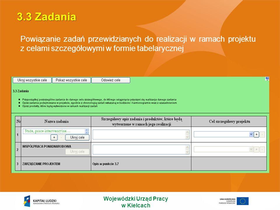 3.3 Zadania Wojewódzki Urząd Pracy w Kielcach Powiązanie zadań przewidzianych do realizacji w ramach projektu z celami szczegółowymi w formie tabelary