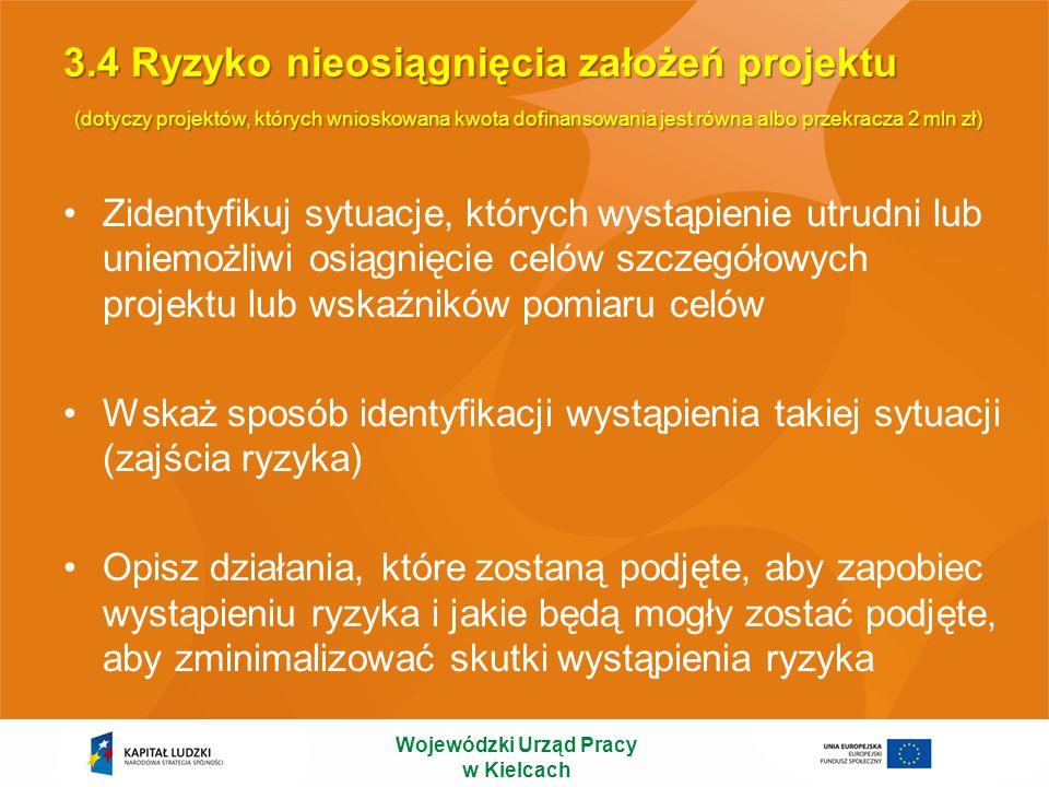 3.4 Ryzyko nieosiągnięcia założeń projektu (dotyczy projektów, których wnioskowana kwota dofinansowania jest równa albo przekracza 2 mln zł) Zidentyfi