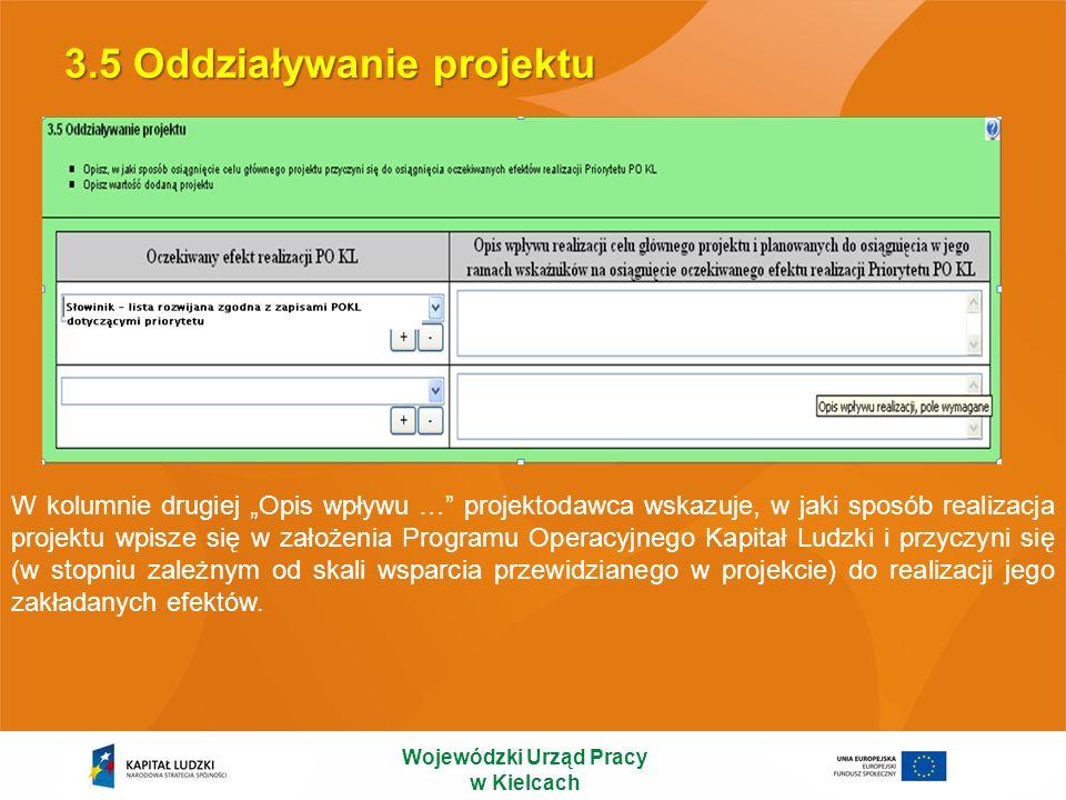 3.5 Oddziaływanie projektu Wojewódzki Urząd Pracy w Kielcach W kolumnie drugiej Opis wpływu … projektodawca wskazuje, w jaki sposób realizacja projekt