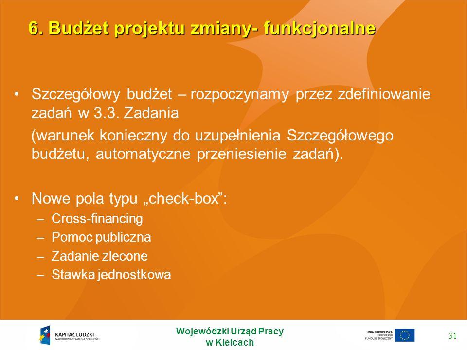 6. Budżet projektu zmiany- funkcjonalne Szczegółowy budżet – rozpoczynamy przez zdefiniowanie zadań w 3.3. Zadania (warunek konieczny do uzupełnienia