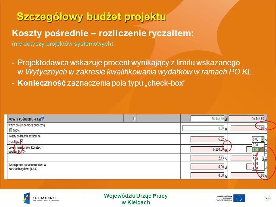 Szczegółowy budżet projektu 36 Koszty pośrednie – rozliczenie ryczałtem: (nie dotyczy projektów systemowych) -Projektodawca wskazuje procent wynikając