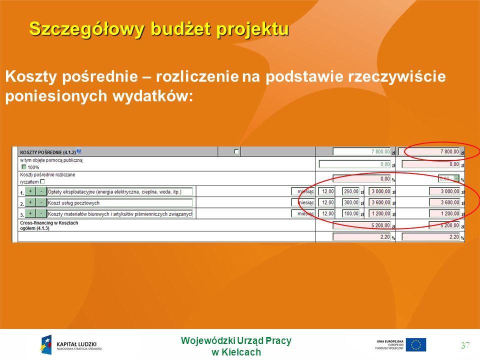 Szczegółowy budżet projektu 37 Koszty pośrednie – rozliczenie na podstawie rzeczywiście poniesionych wydatków: Wojewódzki Urząd Pracy w Kielcach