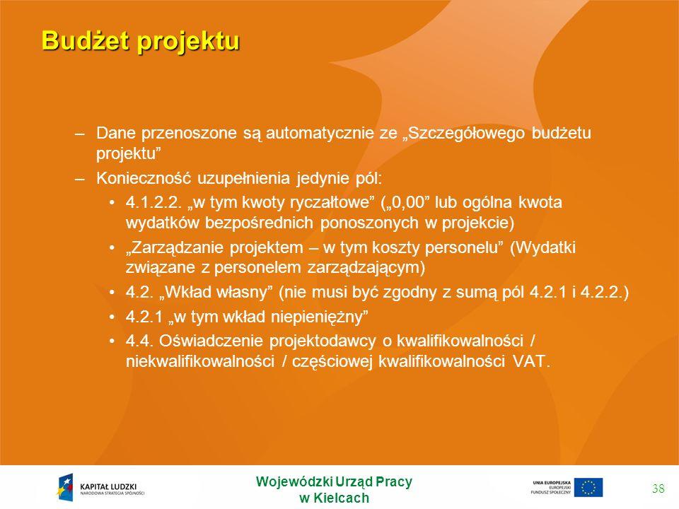 Budżet projektu –Dane przenoszone są automatycznie ze Szczegółowego budżetu projektu –Konieczność uzupełnienia jedynie pól: 4.1.2.2. w tym kwoty rycza