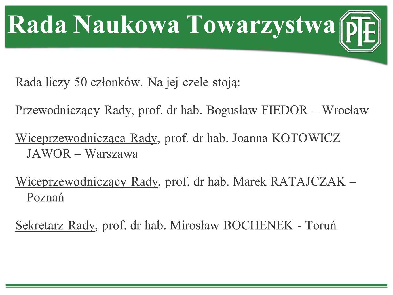 Rada Naukowa Towarzystwa Rada liczy 50 członków. Na jej czele stoją: Przewodniczący Rady, prof. dr hab. Bogusław FIEDOR – Wrocław Wiceprzewodnicząca R