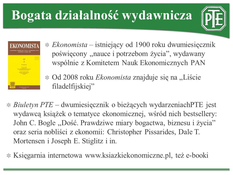 Bogata działalność wydawnicza Ekonomista – istniejący od 1900 roku dwumiesięcznik poświęcony nauce i potrzebom życia, wydawany wspólnie z Komitetem Na