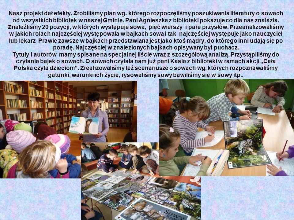 Nasz projekt dał efekty. Zrobiliśmy plan wg. którego rozpoczęliśmy poszukiwania literatury o sowach od wszystkich bibliotek w naszej Gminie. Pani Agni