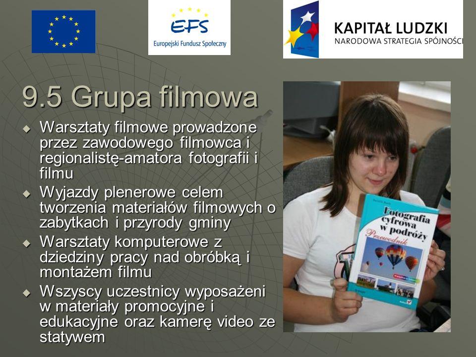 9.5 Grupa filmowa Warsztaty filmowe prowadzone przez zawodowego filmowca i regionalistę-amatora fotografii i filmu Warsztaty filmowe prowadzone przez