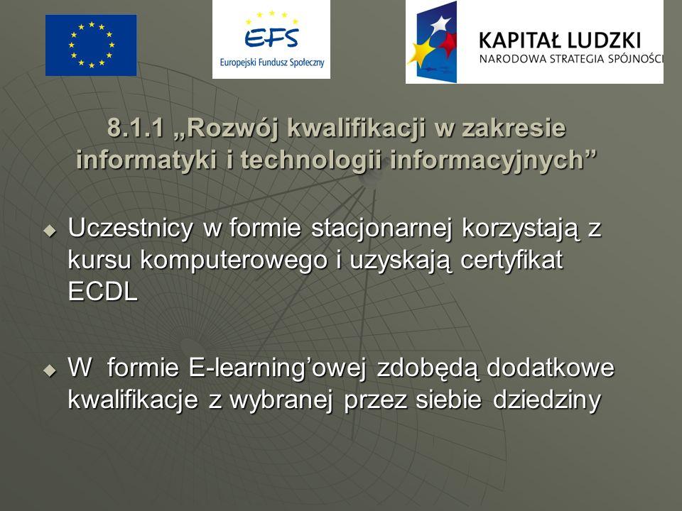 8.1.1 Rozwój kwalifikacji w zakresie informatyki i technologii informacyjnych Uczestnicy w formie stacjonarnej korzystają z kursu komputerowego i uzys