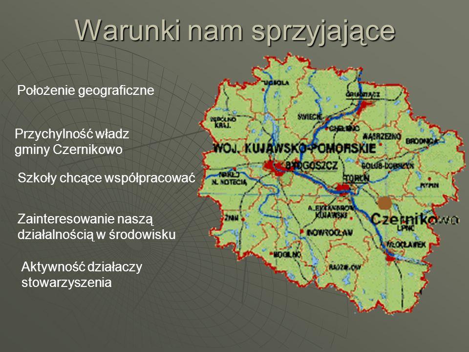Warunki nam sprzyjające Położenie geograficzne Przychylność władz gminy Czernikowo Szkoły chcące współpracować Zainteresowanie naszą działalnością w ś