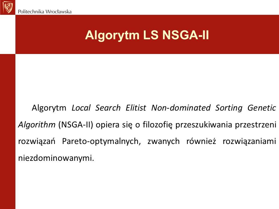 Algorytm LS NSGA-II Algorytm Local Search Elitist Non-dominated Sorting Genetic Algorithm (NSGA-II) opiera się o filozofię przeszukiwania przestrzeni rozwiązań Pareto-optymalnych, zwanych również rozwiązaniami niezdominowanymi.