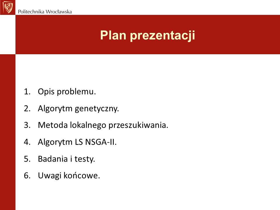 Plan prezentacji 1.Opis problemu.2.Algorytm genetyczny.
