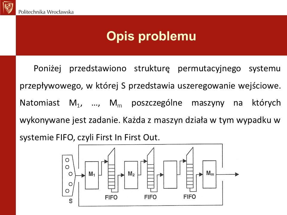 Opis problemu Rozwiązanie problemu polega na znalezieniu takiego uszeregowania (permutacji π) dopuszczalnego, które zminimalizuje dwie funkcje kryterialne (C max i C avg )