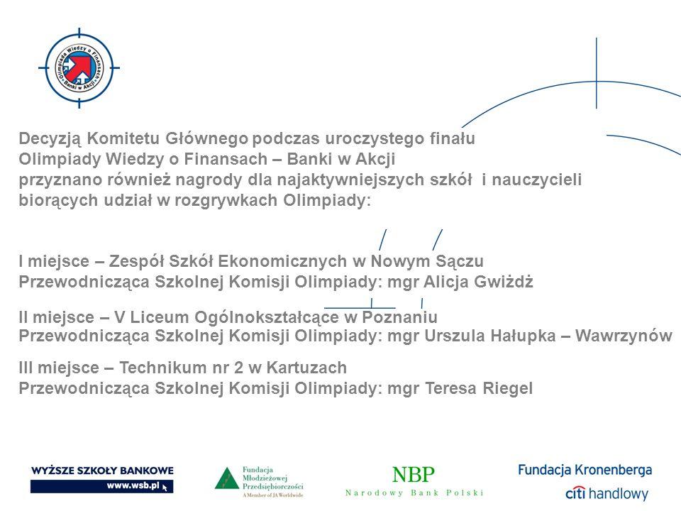Decyzją Komitetu Głównego podczas uroczystego finału Olimpiady Wiedzy o Finansach – Banki w Akcji przyznano również nagrody dla najaktywniejszych szkó