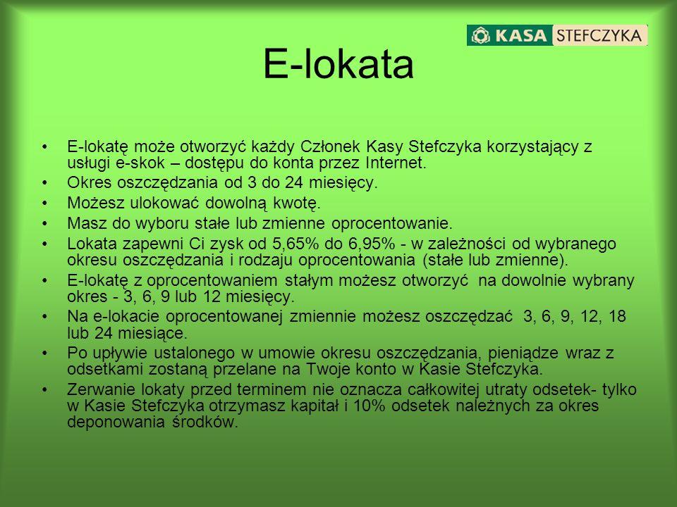 E-lokatę może otworzyć każdy Członek Kasy Stefczyka korzystający z usługi e-skok – dostępu do konta przez Internet. Okres oszczędzania od 3 do 24 mies