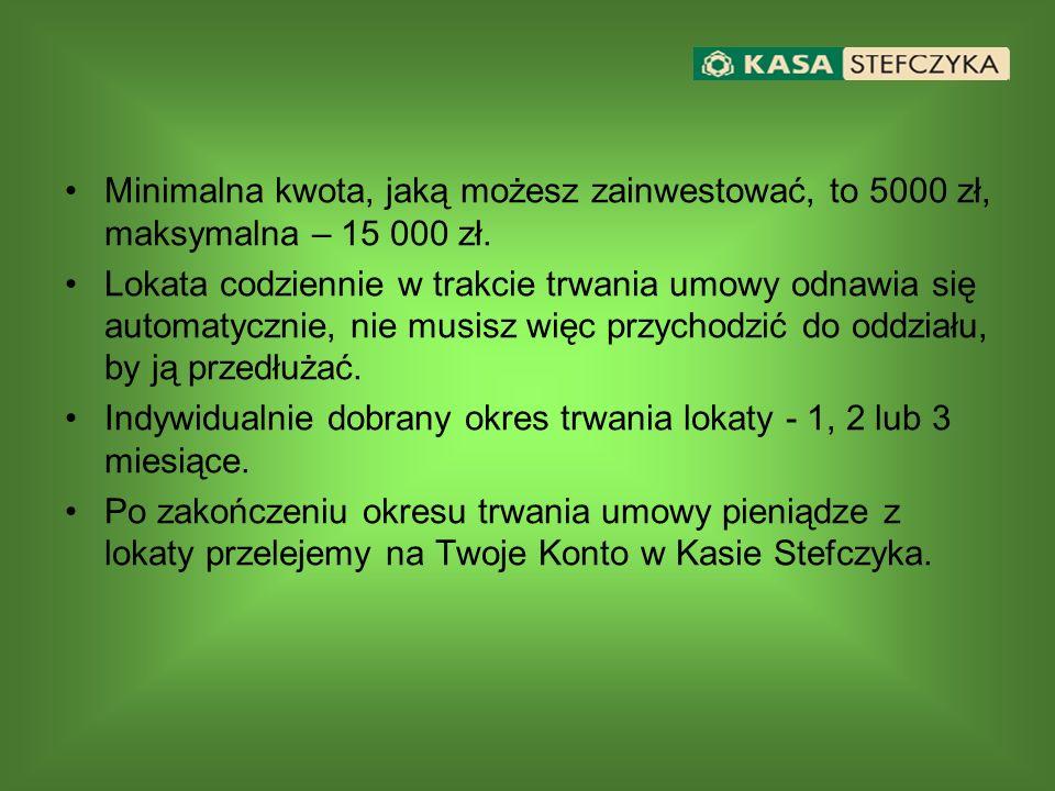 Minimalna kwota, jaką możesz zainwestować, to 5000 zł, maksymalna – 15 000 zł. Lokata codziennie w trakcie trwania umowy odnawia się automatycznie, ni