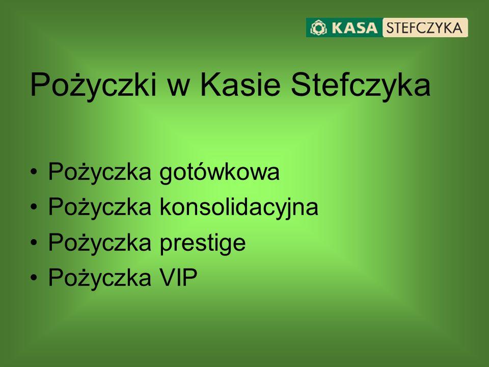 Pożyczki w Kasie Stefczyka Pożyczka gotówkowa Pożyczka konsolidacyjna Pożyczka prestige Pożyczka VIP