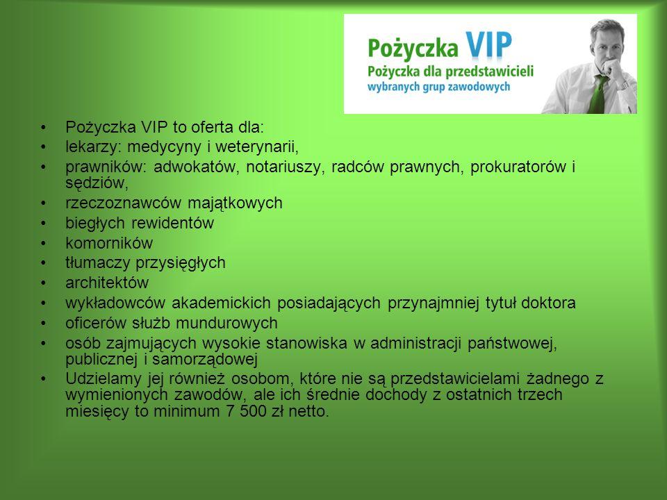 Pożyczka VIP to oferta dla: lekarzy: medycyny i weterynarii, prawników: adwokatów, notariuszy, radców prawnych, prokuratorów i sędziów, rzeczoznawców