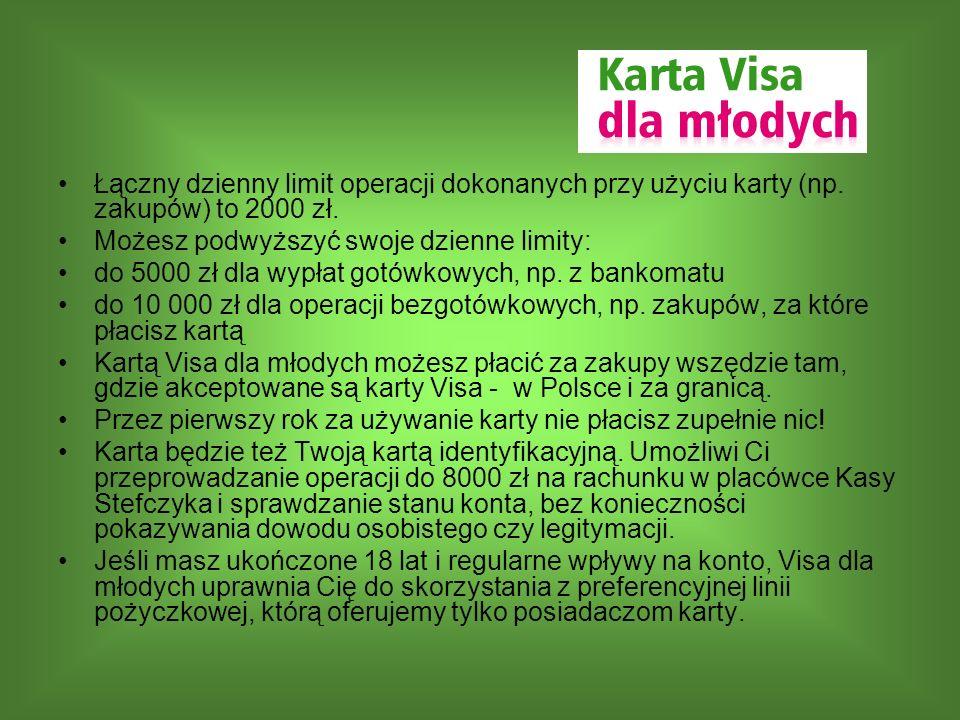 Łączny dzienny limit operacji dokonanych przy użyciu karty (np. zakupów) to 2000 zł. Możesz podwyższyć swoje dzienne limity: do 5000 zł dla wypłat got