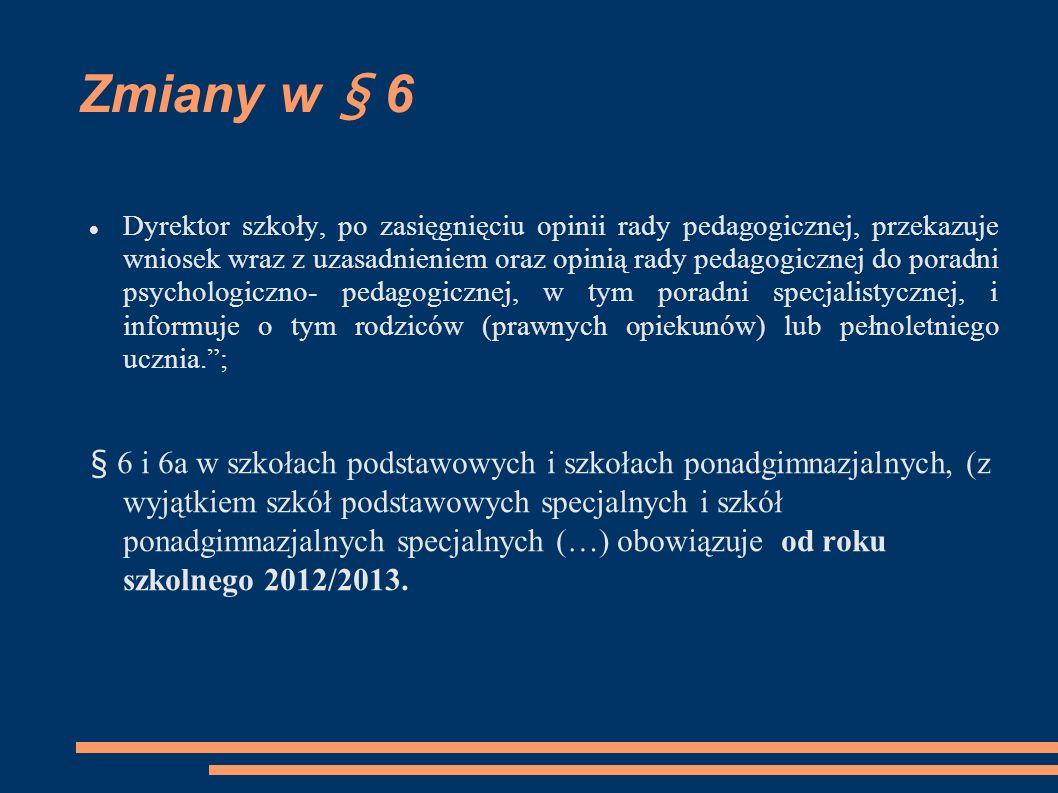 Zmiany w § 6 Dyrektor szkoły, po zasięgnięciu opinii rady pedagogicznej, przekazuje wniosek wraz z uzasadnieniem oraz opinią rady pedagogicznej do por