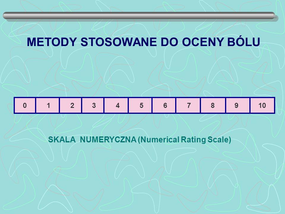 0 1 2 3 4 5 6 7 8 9 10 SKALA NUMERYCZNA (Numerical Rating Scale) METODY STOSOWANE DO OCENY BÓLU