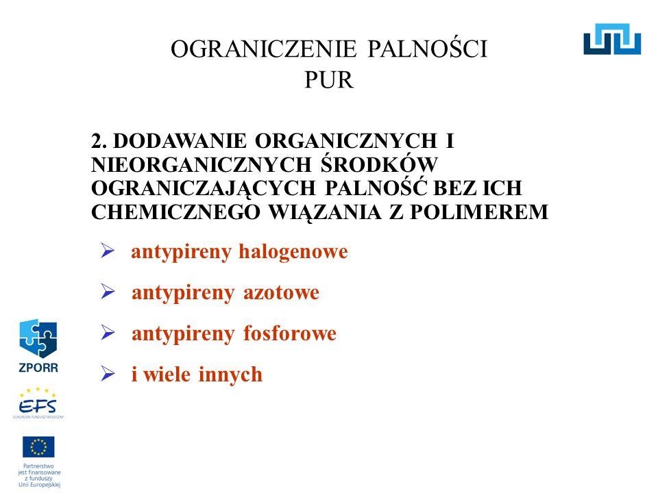 2. DODAWANIE ORGANICZNYCH I NIEORGANICZNYCH ŚRODKÓW OGRANICZAJĄCYCH PALNOŚĆ BEZ ICH CHEMICZNEGO WIĄZANIA Z POLIMEREM antypireny halogenowe antypireny
