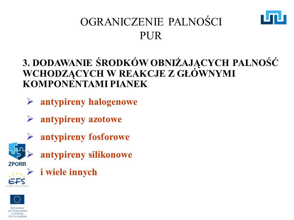 3. DODAWANIE ŚRODKÓW OBNIŻAJĄCYCH PALNOŚĆ WCHODZĄCYCH W REAKCJE Z GŁÓWNYMI KOMPONENTAMI PIANEK antypireny halogenowe antypireny azotowe antypireny fos