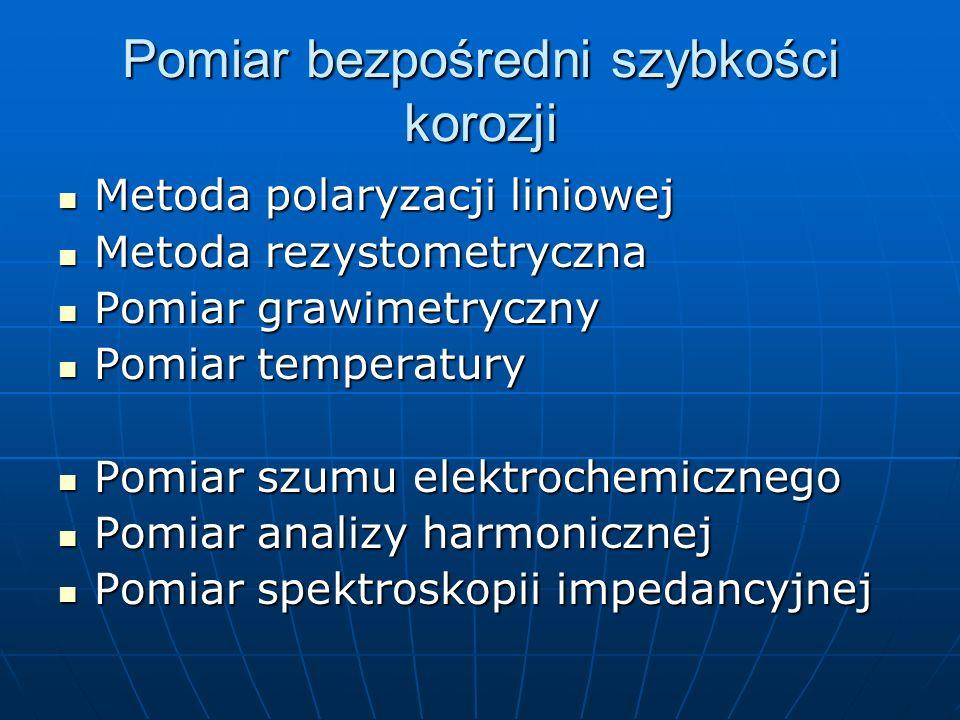 Pomiar bezpośredni szybkości korozji Metoda polaryzacji liniowej Metoda polaryzacji liniowej Metoda rezystometryczna Metoda rezystometryczna Pomiar gr