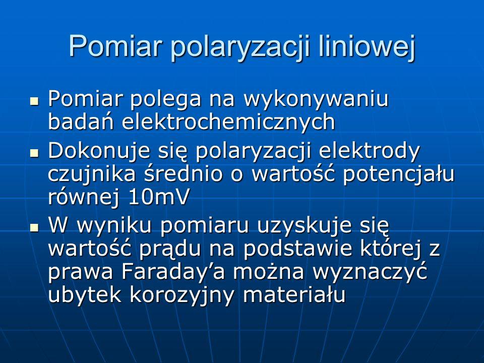 Pomiar polaryzacji liniowej Pomiar polega na wykonywaniu badań elektrochemicznych Pomiar polega na wykonywaniu badań elektrochemicznych Dokonuje się p