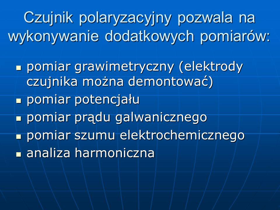 Czujnik polaryzacyjny pozwala na wykonywanie dodatkowych pomiarów: pomiar grawimetryczny (elektrody czujnika można demontować) pomiar grawimetryczny (