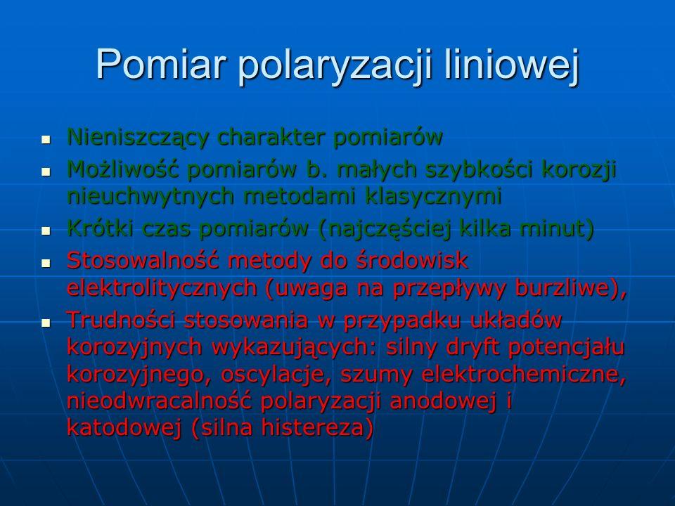 Pomiar polaryzacji liniowej Nieniszczący charakter pomiarów Nieniszczący charakter pomiarów Możliwość pomiarów b. małych szybkości korozji nieuchwytny