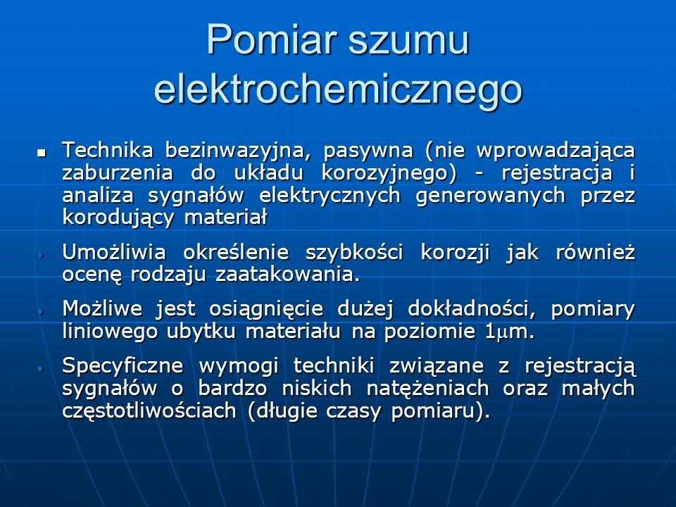 Pomiar szumu elektrochemicznego Technika bezinwazyjna, pasywna (nie wprowadzająca zaburzenia do układu korozyjnego) - rejestracja i analiza sygnałów e