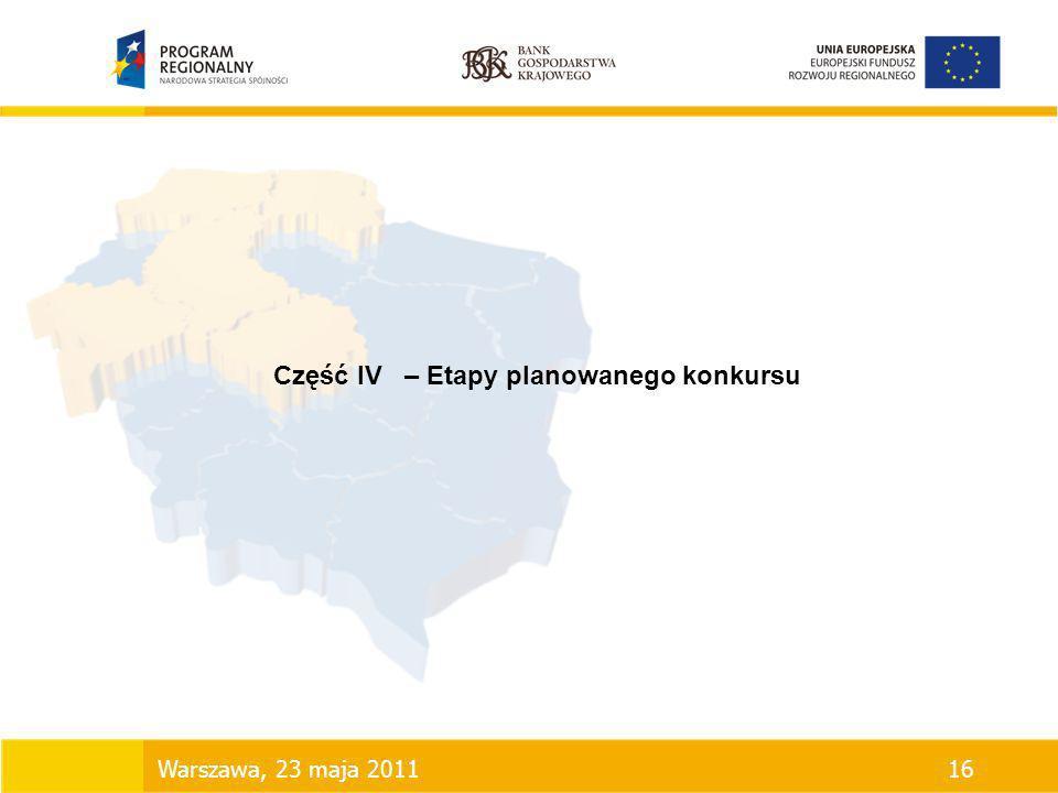 Część IV – Etapy planowanego konkursu Warszawa, 23 maja 201116