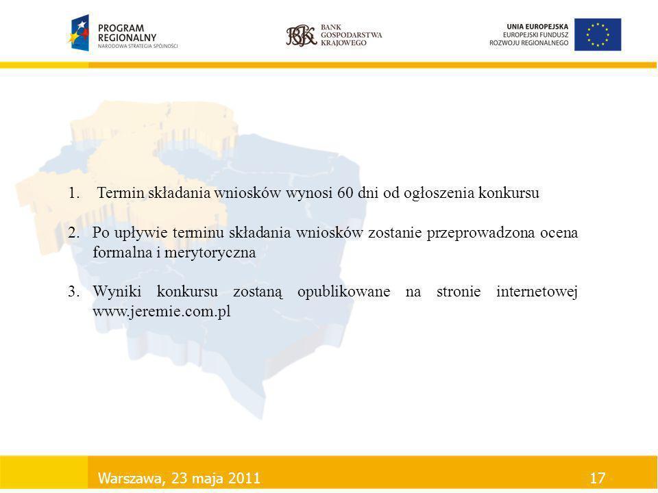 Warszawa, 23 maja 201117 1. Termin składania wniosków wynosi 60 dni od ogłoszenia konkursu 2.Po upływie terminu składania wniosków zostanie przeprowad