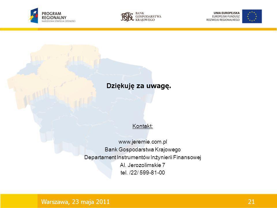 Dziękuję za uwagę. Kontakt: www.jeremie.com.pl Bank Gospodarstwa Krajowego Departament Instrumentów Inżynierii Finansowej Al. Jerozolimskie 7 tel. /22