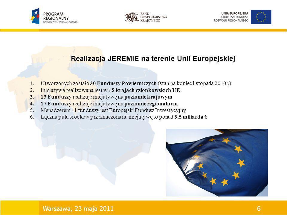 Realizacja JEREMIE na terenie Unii Europejskiej 1.Utworzonych zostało 30 Funduszy Powierniczych (stan na koniec listopada 2010r.) 2.Inicjatywa realizo