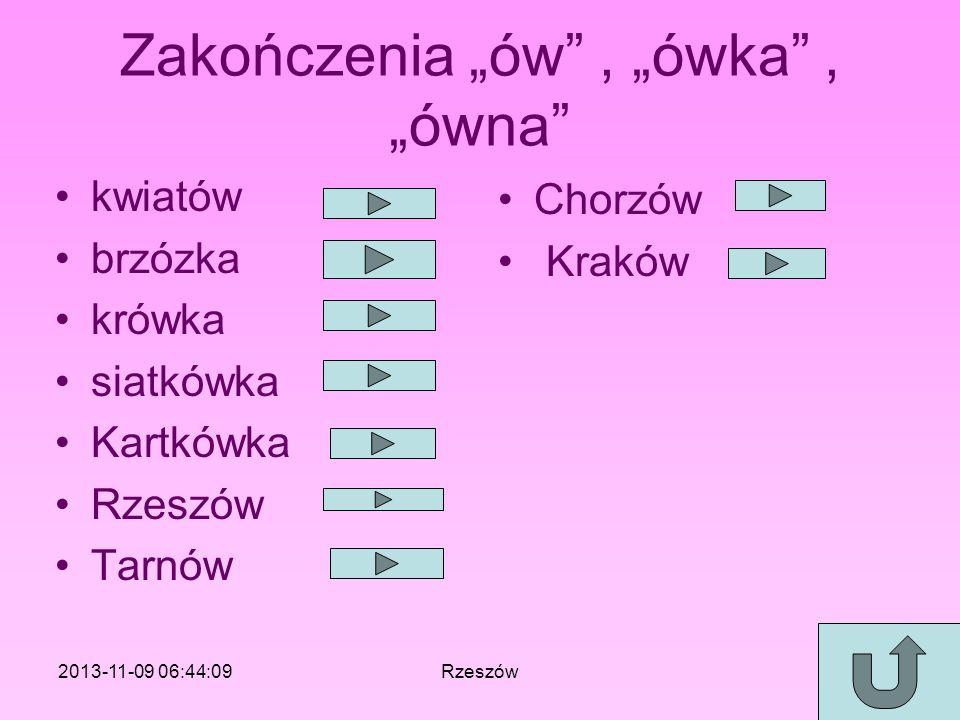 Zakończenia ów, ówka, ówna kwiatów brzózka krówka siatkówka Kartkówka Rzeszów Tarnów Chorzów Kraków 2013-11-09 06:46:11Rzeszów