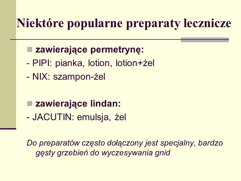 Niektóre popularne preparaty lecznicze zawierające permetrynę: - PIPI: pianka, lotion, lotion+żel - NIX: szampon-żel zawierające lindan: - JACUTIN: em